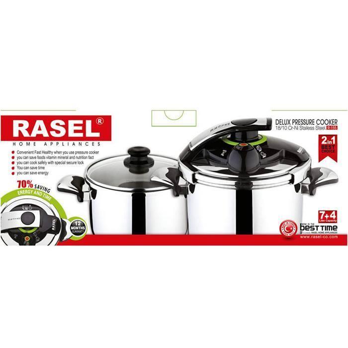 زودپز دوقلوی راسل RASEL مدل دلوکس کد R-155 ظرفیت 7 و 5 لیتر